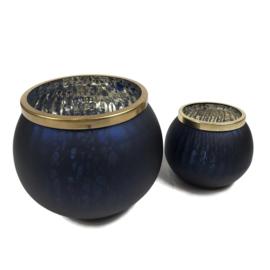 Set van twee windlichten kleur donkerblauw met goud 10cm en 15cm