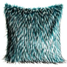 Decoratieve kussensloop van zacht en pluizig bont met lang haar 45x45cm