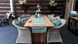 Turquoise tafelloper model Aztec 45x300cm