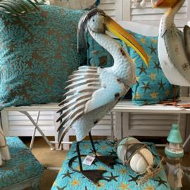 Grote metalen pelikaan 65cm hoog x 41cm lang (kan buiten)