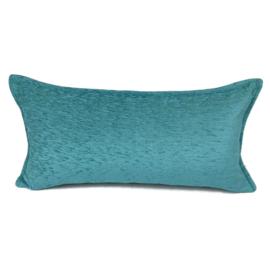 Turquoise blauw/groen kussen ± 30x60cm
