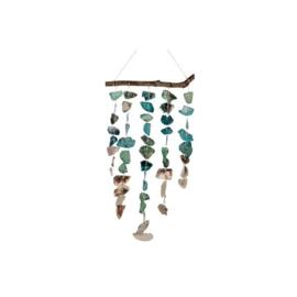 Schelpen mobiel met mooie turquoise schelpen 32x62cm