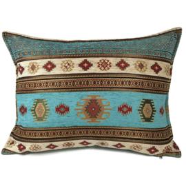 Turquoise kussen - Aztec crème met goud ± 50x70cm