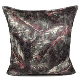Cerise roze met antraciet kussen met mooie veren/bladeren print ± 45x45cm