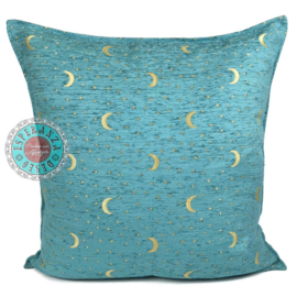 Turquoise kussen - Stars and moons ± 70x70cm