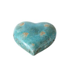Turquoise hart (terracotta) 15cm x 15cm x 6cm hoog