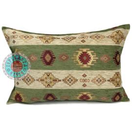 Olijf groen en creme kussen - Aztec stripes ± 50x70cm
