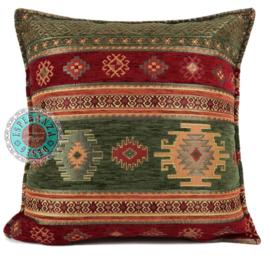Legergroen en rood kussen -  Aztec ± 45x45cm