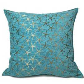 Turquoise kussen - Starfish brons ± 70x70cm