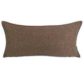 Esperanza Deseo ® kussen - Linnen meubelstof met fijne lus - Brons met koraal ± 30x60cm
