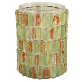 Waxinelichthouder groen/geel/oranje 15 cm