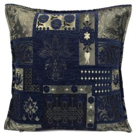 Donkerblauw kussen - Patchwork Flowers ± 45x45cm