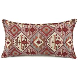 Esperanza Deseo ® kussen - Tribal, roze, creme, rood en grijs ± 30x60cm