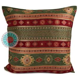 Legergroen en rood kussen -  Aztec ± 70x70cm