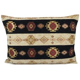 Zwart met creme kussen Aztec stripes ± 50x70cm