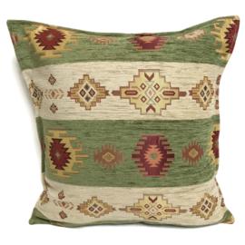 Olijf groen en creme kussen - Aztec stripes ± 45x45cm