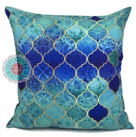 Turquoise kussen - Orient turquoise, mint en kobaltblauw ± 70x70cm