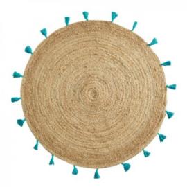 Rond vloerkleed met turquoise kwastjes 120 cm dia
