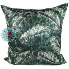Groen kussen met mooie veren/bladeren print ± 70x70cm
