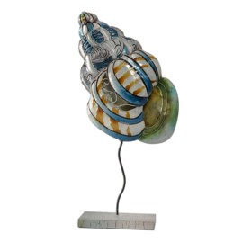 Metalen decoratie schelp op voet