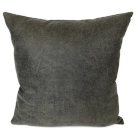 Leatherlook kussen in de kleur donker grijs ± 45x45cm