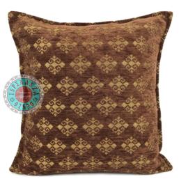 Bruin met goud kussen - Medieval ± 45x45cm incl. binnenkussen
