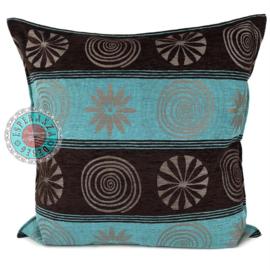 Cirkels donkerbruin en turquoise kussen ± 70x70cm