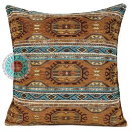 Turquoise met camel kussen - Maya ± 45x45cm