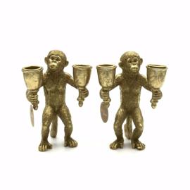 Set van twee gouden apen kandelaars 17cm hoog x 11cm