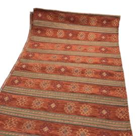 Tafelloper 45x140cm - Peru stripes brick oranje