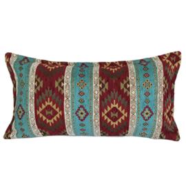 Esperanza Deseo ® kussen - Kelim, turquoise en rood ± 30x60cm