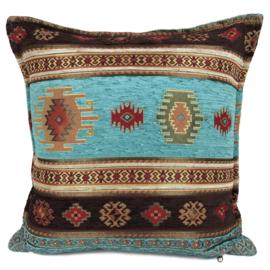 Turquoise kussen - Aztec met bruin ± 45x45cm