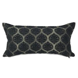 Zwart kussen - Honingraat ± 30x60cm bronskleurig