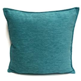 Turquoise blauw/groen kussen ± 45x45cm