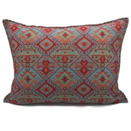 Esperanza Deseo ® kussen - Tribal, turquoise rood oranje mintgroen ± 50x70cm