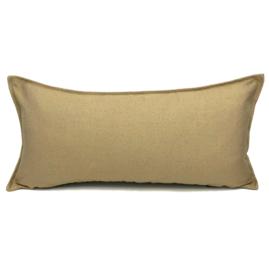 Esperanza Deseo ® kussen - Linnen meubelstof met fijne lus - Taupe met okergeel ± 30x60cm