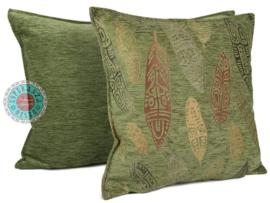 Olijf groen kussen - Boho Feathers ± 70x70cm