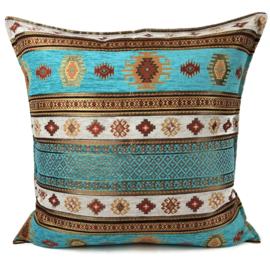 Esperanza Deseo ® kussen - Aztec, turquoise en ivoor ± 70x70cm