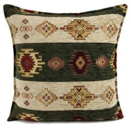 Legergroen en creme kussen - Aztec stripes ± 45x45cm