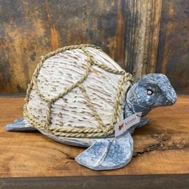 Schildpad kokosnoot wit met blauw ♥ 32x22x15cm