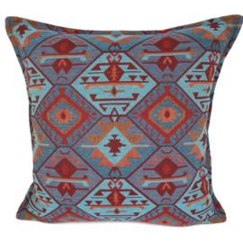 Esperanza Deseo ® kussen - Tribal, turquoise rood oranje lavendelblauw ± 45x45cm