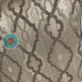 Metallic taupe kussen met klassieke retro print ± 45x45cm