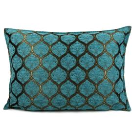 Turquoise kussen - Honingraat met brons ± 50x70cm
