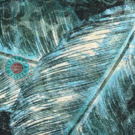 Turquoise kussen met mooie veren/bladeren print
