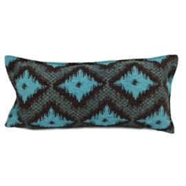 Turquoise met bruin kussen - met ruit/kelim (bruin) patroon ± 30x60cm