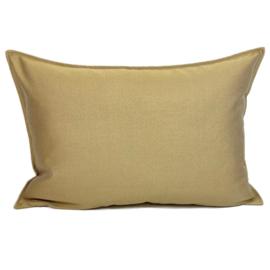 Esperanza Deseo ® kussen - Linnen meubelstof met fijne lus - Taupe met okergeel ± 50x70cm