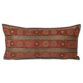 Brick oranje kussen - Peru stripes ± 30x60cm