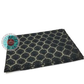 Honingraat zwart tafelkleed/woonkleed 140x200cm