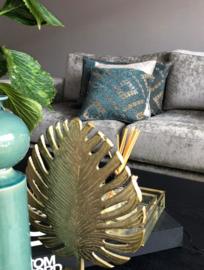 Sierkussen creme turquoise met Kelim motief ± 45x45cm
