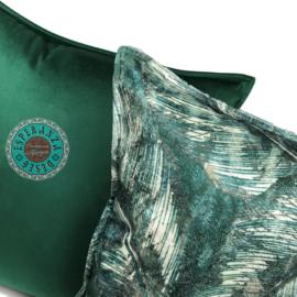 Velvet donker groen kussen passend bij veren/bladeren kussen ± 45x45cm